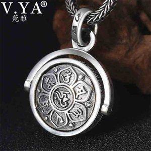 В.Я. 925 Серебряного кулон ожерелье буддийские шесть слова Сутра повернутых Подвески для мужчин Религиозных ювелирных изделий 1027