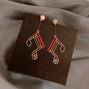 2021 Fashion Musical Note Long Earrings Red And Black Classic Streamline Geometric Earrings Delicate Female Earrings