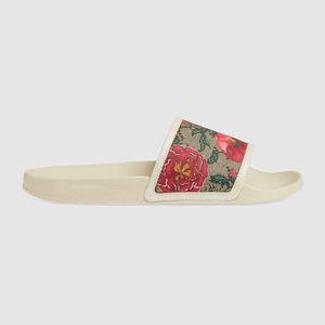 2021 Donne bianche Sandali da uomo Sandali floreali Sandali floreali Donne con scatola a strisce Fiore Tigri Serpente Stampa serpente Unisex in pelle di gomma taglia 36-45