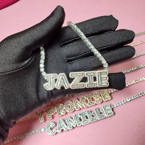 Customized Letter Name Necklace with Zircon Tennis Chain Iced Out Letters with Tennis Chain Choker Necklace for Women