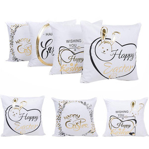 Easter Shining Bronzing pillow case Bunny Rabbit Design Square Cotton Pillowcase Sofa Car Cushion Covers Festival Home Decorations BWC3486