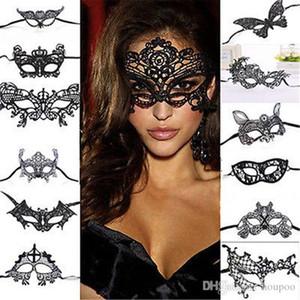 La metà di disegni di Halloween 26 Mask Decorazione Masquerade Party Decoration supplie maschere rifornimenti del mestiere regali di Natale Lace Partito evento faccia Hal Tekn