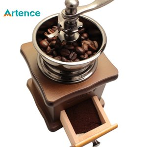 Classical Wooden Manual Coffee Grinder Stainless Steel Retro Coffee Spice Mini Burr Mill Wheel Machine Free Shipping