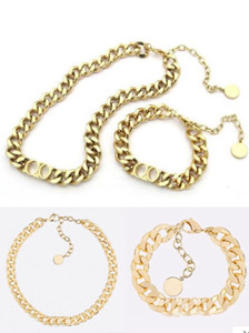 Mode En acier inoxydable Lettre 14K Gold Cuban Link Chaîne Collier Couker Bracelet pour hommes et femmes Amants cadeau Hip hop bijoux avec boîte