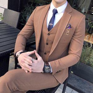 Brand Men's Slim Long Retro Suit Jacket Groom Wedding Dress Men's Blazer