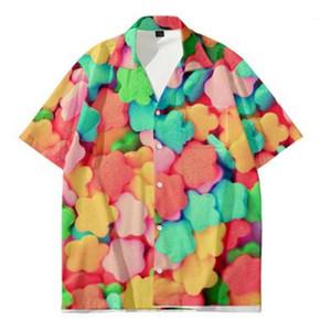 Loose Casual Top Shirts Man Sweets Shirt Fashion 3D Digital Candy Printing Short Sleeve Clothing Designer Male Cardigan Thin