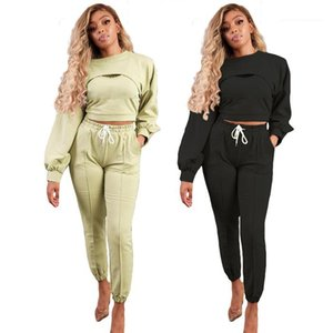 and Pencil Pants Autumn Fashion 3pcs Sets For Women Solid Color Womens Designer Tracksuits Casual Hoodies Sleeveless Tanks