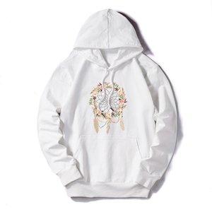 DIY Womens Sweatshirts Women Autumn Winter Flower Feather Print DIY Hoodies Womens Fashion Trendy Pullovers 2020 New Arrival Plus Size