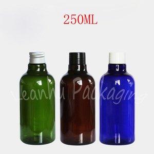 Bouteille en plastique ronde de 250 ml / vert / bleue, conteneur cosmétique vide de 250cc, Shampooing Toner Sous-Botterling