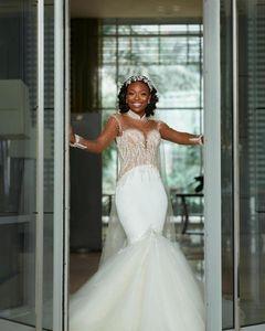 Luxury South Africa Crystals Beads Mermaid Wedding Dresses High Neck Sheer Long Sleeves Shiny Formal Bridal Gowns Vestidos de novia