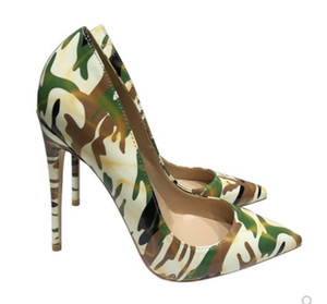 Camouflage graffiti pumps Women's Red-soled High heeled shoes 8cm 12cm 10cm Cusp Fine heel Single shoes large size 45 Shallow mouth banquet