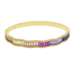 rainbow cz gold plated bangle for women trendy fashion jewelry micro pave baguette colorful cz high quality luxury rainbow jewelry