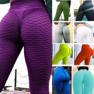 Femmes Pantalon de Yoga Solid Honeycombe Sexy Fitness Leggings High Taille Élastique Collants Collants Laties Push Up Gym Pantalon Jxw818