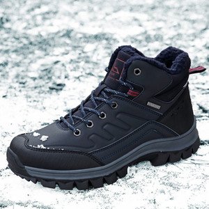 Leather Winter Men'S Boots Waterproof And Warm Fur Snow Boots Men'S Outdoor Winter Work Casual Shoes
