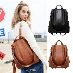Women Female Anti theft Backpack Classic PU Leather Solid Color Backpacks Canta Fashion Shoulder Bag Vintage Travel Rucksack Y3