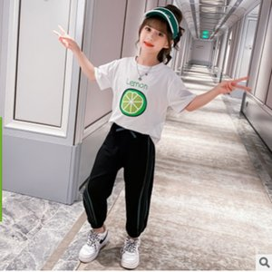 Girls Hoody Calf-Length Pant Clothing Set 2020 New Summer Spring Kids Clothes Children's Sets 2 Patchwork Colors Size4-14 ly101