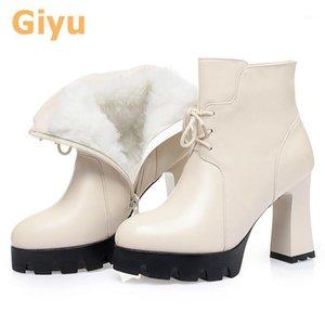 Giyu 2020 Autunno e Winter New Plus Velvet Point Boots Tacchi alti Stivali nudi Pieno Cowhide1