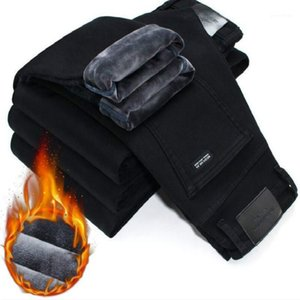 Men's Jeans 2021 Winter Men Warm Slim Elasticity Skinny Black Fleece Fashion Casual Thick Denim Pants Trousers Male1