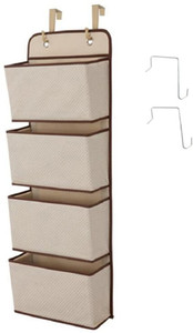 Hanging Closet Organizer with Metal Hooks, 4-Pockets Wall Mount Over Door Storage for Toys, Purses, Keys, Sunglasses