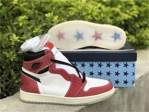 Sala de troféu autêntica x 1 alta og sapatos ao ar livre 1s DA2728-100 Branco / Varsity Red-Sail-Black Treinador Sports Sneakers com caixa original