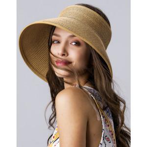 FURTALK Sun Visor Hats for Women Summer Straw Beach Hat Wide Brim Roll Up Ponytail UV UPF 50 Foldable Travel Hat Female Sun Cap 201015