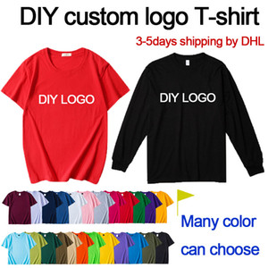 DIY custom logo T-shirt Design your own printed logo men and women clothing long sleeve faster shipping by DHL