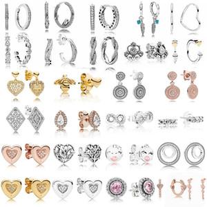 CHAMSS Мода Wild New 100% 925 серег стерлингового серебра игристое форме сердца Подпись Круглый Беруши розовое золото серьги