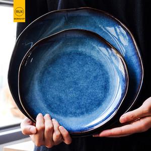 Stile giapponese pigmentato irregolari Dish Piatti in ceramica creativa Steak Dessert Tray Home Decor tavola da cucina Cena Piastre C1108