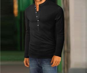 Spring Automne Mens Tshirt Longue Manches Solide Couleur en V Coulé Couleur Slim Tees Mode Casual Homme Vêtements