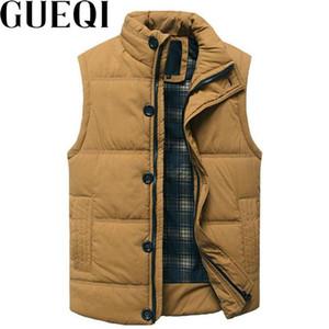 Erkek yelekleri gueqi erkekler sıcak yelek ceketler artı boyutu M-3XL standı yaka fermuar tasarım polar adam siyah kolsuz palto ekleyin
