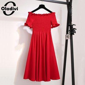 Oladivi Plus Size Women Elegant Vintage Party Sexy Off Shoulder Dresses Summer Holiday Style Lady Slim Korean Sweet Dress M-4XL