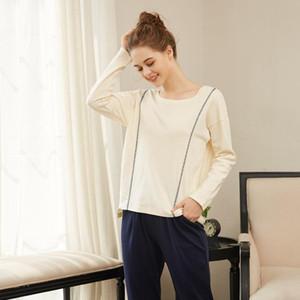 Long Sleeve Cotton Sets Style Suit Home Women Female Sleepwear Sexy Fashion Homewear Pajamas