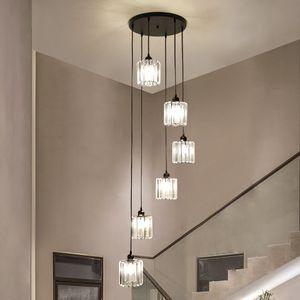 Modern Spiral Chandeiler Fashional Hanging Lamp LED Stair Chandelier for Hotel Lobby Loft Stair Living Room Lighting
