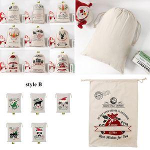 Christmas Gift Bags Cotton Canvas Bag Santa Sacks Monogrammable Santa Sack Drawstring Bag Christmas Decorations Santa Claus Deer BWB2558