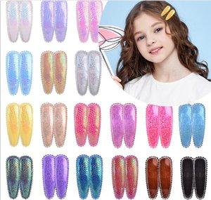 Bulk pc lot Candy Color Leather Hair Pins Bobby Pin Girls Kids Glitter Barrettes Hair Clip Kid Children Bob Pins