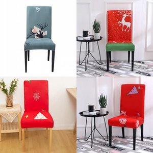 Merry Xmas Seat Cover Flower Cartoon Christmas Tree Printed Chair Covers Home Decorations Office Polyester Party 8xz G2