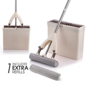 Sponge Mop And Mop Bucket with Replacement Sponge Heads PVA Sponge Mop Super Absorbent Easy Cleaning for Hardwood Floor LJ201130