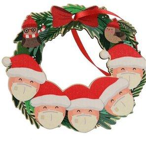 Weihnachtsdeko Garlands Sankt-Schneemann-Gesichtsmaske Heißen Weihnachtskranz Pendent Verandatür Hang Kränze Ornamente Home Decoration E92604