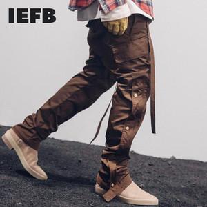 IEFB / Otoño Invierno Streetwear hombres del lado de presión Pantalones Cargo Hip Hop Slim Fit Ribboned pretina de los pantalones elásticos de la cintura de pista 9Y4214