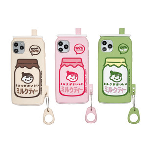 Cute Cartoon Beverage Bottle Soft Silicone Girl Phone Case for iPhone 12 Mini 11 Pro Max XR X XS 6 7 8 Plus