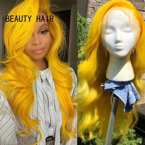 Free Part Yellow color Long wavy Wigs for White Women new natural soft Synthetic Lace Front Wigs for Cosplay Party