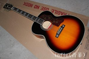 Free shipping wholesale Top Quality sj200 Acoustic Guitar can add fisherman pickup add hardcase