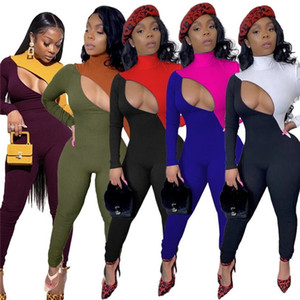 Women jumpsuit long sleeve panelled bodysuit Article pit fall winter casual clothing S-2XL sexy rompers zipper overalls leggings DHL