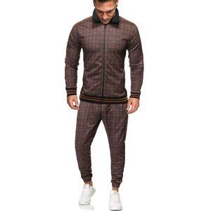 Padegao Sport Suit Sportswear Casual 2 Pcs Set Digital Printing Checked Men Clothes Men's Tracksuit Pdg1250