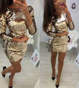Long sleeve sequin bodycon neck prom kim kardashian dress with sequins and buttocks in nightclub SEXY DRESSES FOR WOMEN