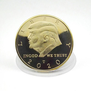 Gold Coin America President Commemorative Coin Donald Trump Souvenir Coins 4CM Gold Plated Commemorative Coin Collection Gift HWC417