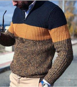 Pulls d'automne et d'hiver Sweaters à manches longues V cou à rayures à rayures lambrissées designer Slim Fit Tops