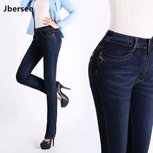Jbersee Women Jeans High Waist Plus Size Autumn Winter Denim Pants Stretch Jeans Woman Brand Jeans Women's Trousers YZ2030 201029