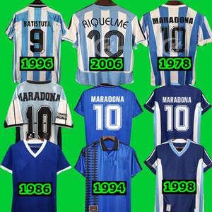 Top Tailândia 2006 1978 1994 Messi Argentina Retro Jersey Maradona Vintage 1996 1998 1986 Maradona 10 Maillot Camisetas Camisa de futebol