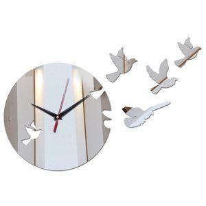 Fashion Modern Style Wall Quartz Clocks Home Decor Wall Watches Diy Mirror Acrylic Material Birds Face Wall Stickers For Study Watch Clock